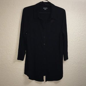 Black 3/4 Sleeve Button Front Shirt
